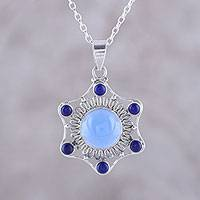 Chalcedony and lapis lazuli pendant necklace, 'Charismatic Beauty' - Blue Chalcedony and Lapis Lazuli Pendant Necklace from India