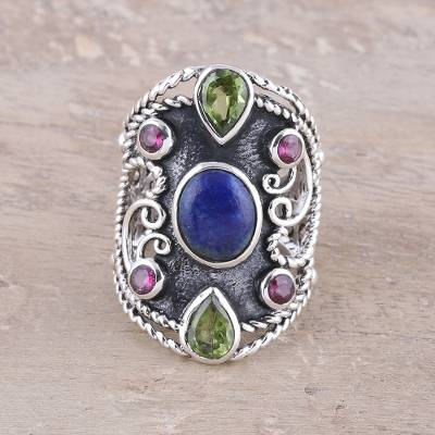 Multi-gemstone cocktail ring, 'Lapis Royalty' - Handcrafted Sterling Silver and Lapis Lazuli Ring from India
