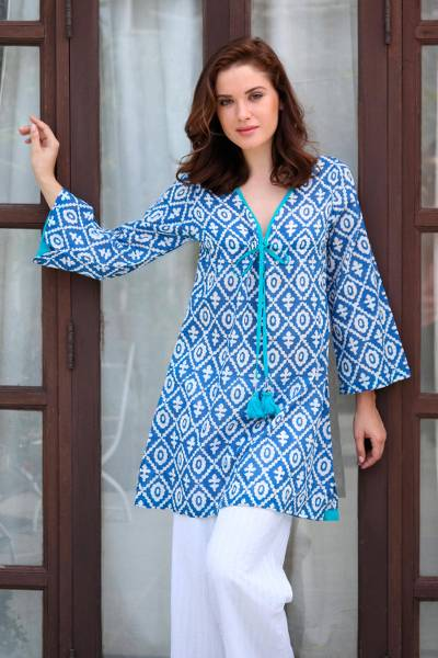 Cotton caftan, 'Inspired Diamonds' - Blue and White Long Sleeved Cotton Caftan with Diamond Motif