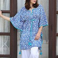 Cotton kaftan, 'Beach Flowers' - Blue White and Turquoise Cotton Kaftan with Tassels