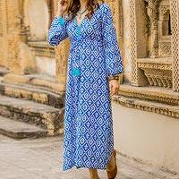 Cotton maxi dress, 'Carefree Comfort' - Blue and White Print 100% Cotton Long Sleeve Maxi Dress