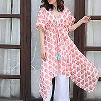 Cotton Caftan, 'Strawberry Flowers' - White Red and Turquoise Floral Cotton Long Caftan