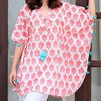 Short cotton kaftan, 'Strawberry Resort' - Strawberry and White Floral Print Tasseled Cotton Kaftan