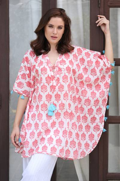 Short cotton caftan, 'Strawberry Resort' - Strawberry and White Floral Print Tasseled Cotton Caftan
