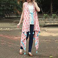 Cotton cover-up, 'Strawberry Flowers' - Red and Turquoise Floral Screen Print Cotton Cover-Up