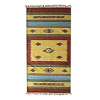 Cotton area rug, 'Rugged Flowers' (4x6) - Cotton Rug (4x6) Abstract Geometric Design in Warm Colors