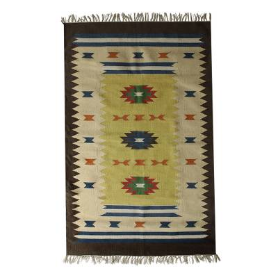 Cotton dhurrie rug, 'Vivid Geometry' (4x6) - Hand Woven Cotton Geometric Dhurrie Rug from India (4x6)