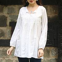 Cotton tunic, 'Gorgeous Chikankari' - Hand-Embroidered Cotton Tunic in White from India