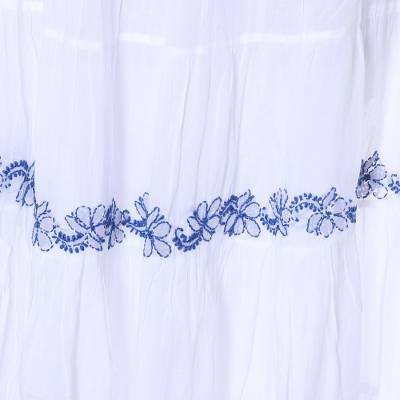Cotton maxi skirt, 'Botanical Whimsy' - White Cotton Long Skirt with Blue Embroidered Floral Pattern