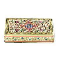 Wood decorative box, 'Persian Bliss' - Handcrafted Floral Wood Decorative Box from India
