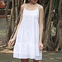White cotton sundress, 'Breezy Summer' - Strappy White Cotton Chikankari Embroidered Dress from India