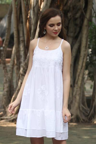 Cotton sundress, 'Breezy Summer' - Strappy White Cotton Chikankari Embroidered Dress from India