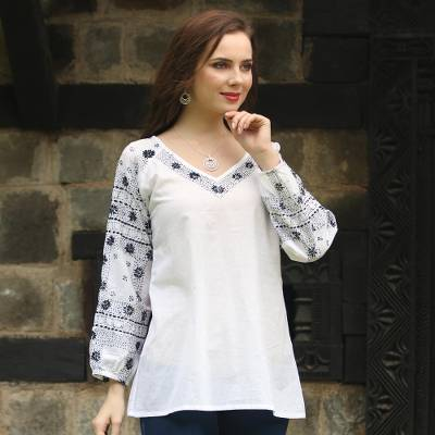 Cotton tunic, 'Late Night Bloom' - Long Sleeve Floral White Tunic Hand Embroidered in India