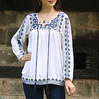 Viscose blouse, 'Embroidered Blue' - Embroidered Long Sleeved White and Navy Tunic from India