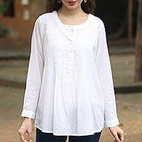 Cotton blouse, 'Classic Snowy White' - Long Sleeve Floral White Blouse Hand Embroidered in India