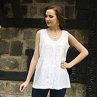 Cotton blouse, 'Floral Flirt' - Sleeveless Floral White Blouse Hand Embroidered in India