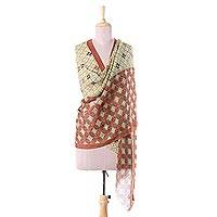 Wool shawl, 'Winning Combination' - Wool Shawl in Olive and Russet from India