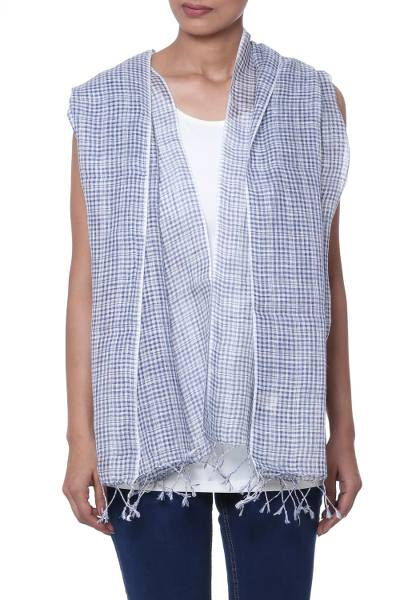 Linen scarf, 'Magical Delight in Azure' - Handwoven Linen Wrap Scarf in Azure from India