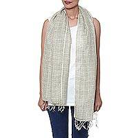 Linen scarf, 'Magical Delight in Olive' - Handwoven Linen Wrap Scarf in Olive from India