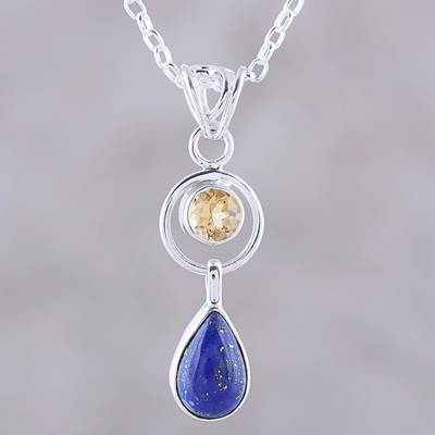 Lapis lazuli and citrine pendant necklace, 'Gleaming Midnight' - Lapis Lazuli and Citrine Pendant Necklace from India