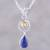 Lapis lazuli and citrine pendant necklace, 'Gleaming Midnight' - Lapis Lazuli and Citrine Pendant Necklace from India thumbail