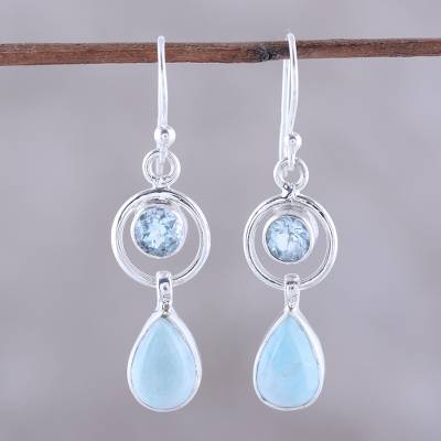 Larimar and blue topaz dangle earrings, Gleaming Daylight