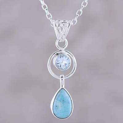 Larimar and blue topaz pendant necklace, 'Gleaming Daylight' - Larimar and Blue Topaz Pendant Necklace from India