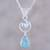 Larimar and blue topaz pendant necklace, 'Gleaming Daylight' - Larimar and Blue Topaz Pendant Necklace from India thumbail