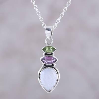 Multi-gemstone pendant necklace, 'Gemstone Allure' - Multi-Gemstone Pendant Necklace from India