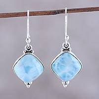 Larimar dangle earrings, 'Gleaming Grandeur' - Larimar Dangle Earrings from India