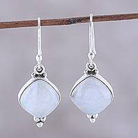 Rainbow moonstone dangle earrings, 'Gleaming Grandeur' - Rainbow Moonstone Dangle Earrings from India