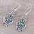 Peridot dangle earrings, 'Green Swing' - Peridot and Green Composite Turquoise Earrings from India (image 2b) thumbail
