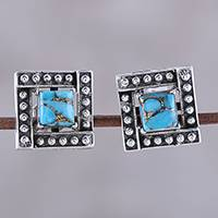 Sterling silver and composite turquoise stud earrings, 'Beautiful Windows in Blue' - Square Blue Composite Turquoise Stud Earrings from India