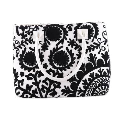 Black Floral Embroidered Cotton Handle Handbag from India