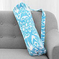 Cotton yoga mat bag, 'Blue at Peace' - Ikat Pattern 100% Cotton Blue and White Yoga Mat Bag