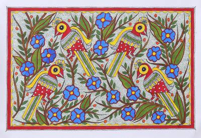 Madhubani Painting of Birds in a Floral Garden from India