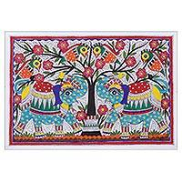 Madhubani painting, 'Elephant Salutation' - Indian Painting of Two Elephant Friends in the Jungle