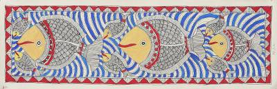 Fish-Themed Madhubani Painting from India