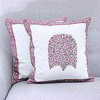 Cotton cushion covers, 'Pink Tree' (pair) - Pink Tree Hand Block Print Pair of Cotton Cushion Covers