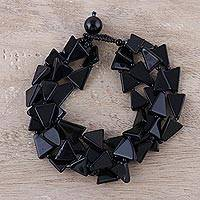 Onyx beaded bracelet, 'Jagged Night' - Handcrafted Modern Onyx Triangular Bead Bracelet from India