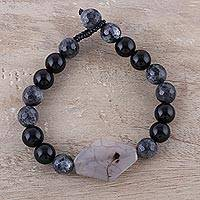 Agate and onyx beaded pendant bracelet, 'Tranquil Embrace' - Handcrafted Onyx and Grey Agate Beaded Bracelet from India