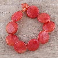 Agate beaded bracelet, 'Fiery Flair' - Handcrafted Fiery Red-Orange Agate Disc Beaded Bracelet