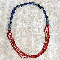 Lapis lazuli and agate long beaded necklace, 'Fire and Rain' - Handcrafted Lapis Lazuli and Red Agate Long Beaded Necklace