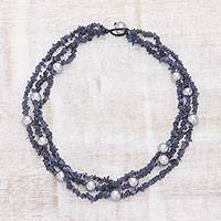 Cultured pearl and iolite beaded necklace, 'Misty Seascape' - Handcrafted Iolite and Grey Cultured Pearl Beaded Necklace