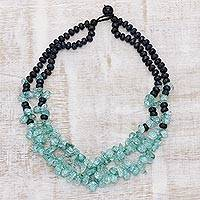 Multi-gemstone beaded necklace, 'Sea Grandeur' - Handcrafted Sea Green Quartz and Grey Agate Beaded Necklace