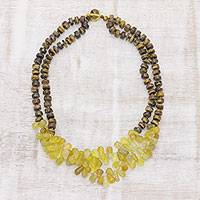 Tiger's eye and chalcedony beaded necklace, 'Sunlit Melody' - Golden Yellow Chalcedony and Tiger's Eye Beaded Necklace