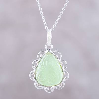 Chalcedony pendant necklace, 'Lovely Drop' - Leaf Motif Chalcedony Pendant Necklace from India