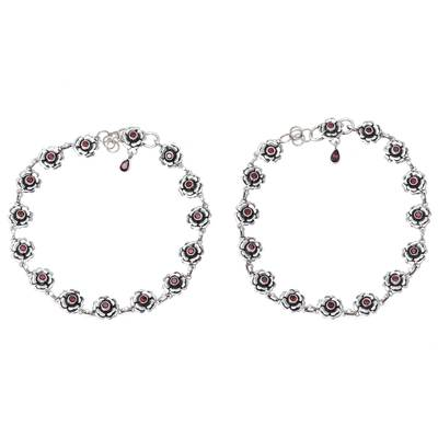 Floral Garnet Link Anklets from India (Pair)