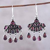 Garnet chandelier earrings, 'Scarlet Fantasy' - Garnet Chandelier Earrings from India