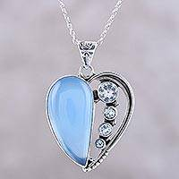 Chalcedony and blue topaz pendant necklace, 'Blue Heart' - Chalcedony and Blue Topaz Heart Necklace from India